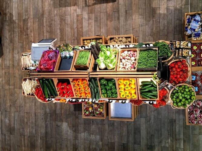 Diferentes colores de las verduras