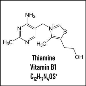 Estructura química de la tiamina/vitamina B1.